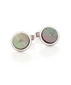 Tateossian   Sartorial Diamond Mother-Of-Pearl Sterling Cuff Links
