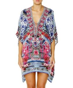 Camilla | Chinese Whispers Printed Lace-Up Silk Caftan