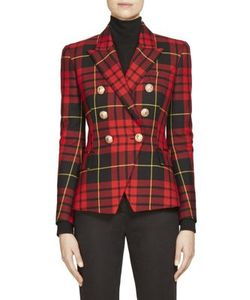 Balmain | Double-Breasted Plaid Wool Jacket