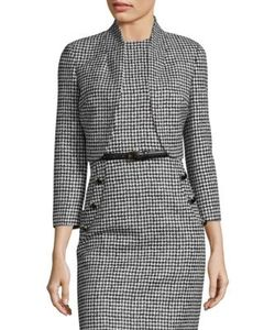 Michael Kors Collection | Wool Houndstooth Cropped Jacket