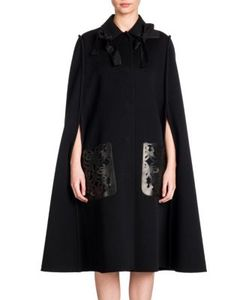 Fendi | Bow-Detail Double-Face Wool Leather Cape