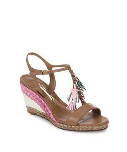 Sophia Webster | Lucita Tassel Leather T-Strap Espadrille Wedge Sandals