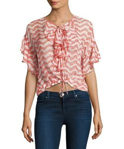 The Kooples | Ruffled Lace-Up Silk Blouse
