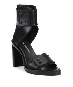 Ann Demeulemeester | Leather Ankle-Cuff Block Heel Sandals