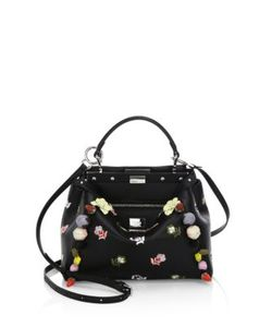 Fendi | Peekaboo Mini Embellished Embroidered Leather Satchel
