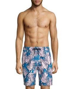 Surfside Supply Co.   Leaf Shadow Printed Swim Trunks