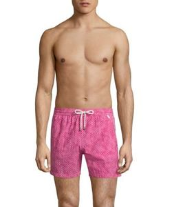 Isaia | Dot-Print Cotton Swim Trunks