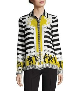 Versace Collection | Silk Button-Front Blouse
