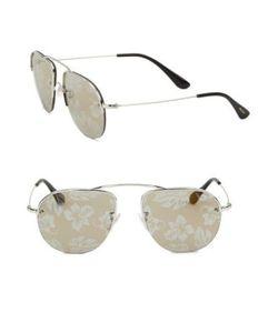Prada | 55mm Mirrored Aviator Sunglasses