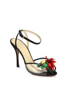 Charlotte Olympia | Tropicana Embellished Satin Pvc Peep-Toe Sandals
