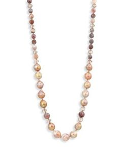 Chanluu | 6-12mm Freshwater Pearl Botswana Agate Mystic Smokey Necklace/38
