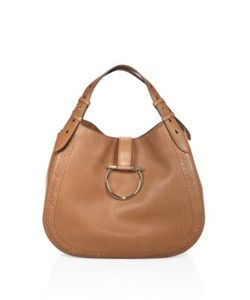 Salvatore Ferragamo | Large Perrine Gancio Bracelet Leather Hobo Bag