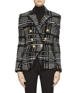 Balmain | Stretch Tweed Knit Double-Breasted Jacket