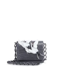 Nancy Gonzalez | Gio Crane-Embellished Crocodile Crossbody Bag