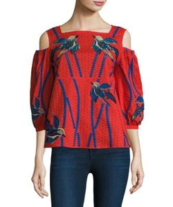 Tanya Taylor | Bird Embroidered Cotton Cold Shoulder Top