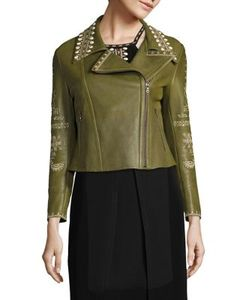 Yigal Azrouel | Embroidered Leather Moto Jacket