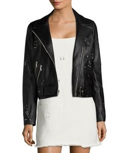 Sandy Liang | Astro Delancey Embroidered Leather Moto Jacket