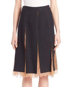 Michael Kors Collection | Paneled Lace-Inset Skirt