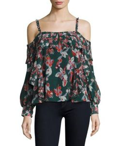 Tanya Taylor | Ikat Gauze Daisy Silk Cold Shoulder Top