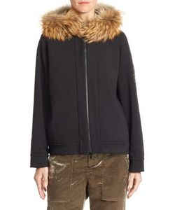 Brunello Cucinelli | Fox Fur-Trim Jersey Zip Hoodie