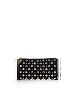 Edie Parker | Soft Lara Crystal-Studded Suede Clutch