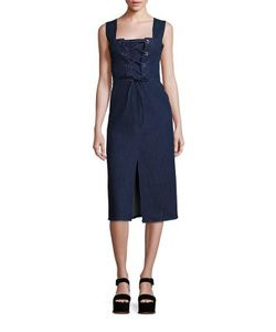 See by Chloé | Lace Front Denim Dress
