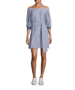 Tanya Taylor | Brittany Cotton Shirting Off-The-Shoulder Dress