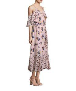Tanya Taylor | Silk Printed Cold-Shoulder Midi Dress