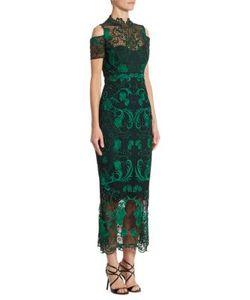 Marchesa Notte | Cold-Shoulder Guipure Lace Midi Dress