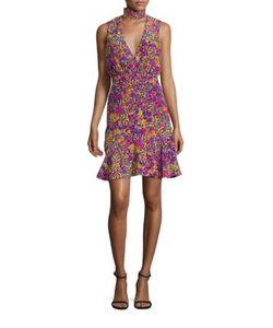 Saloni   Fleur-Print Silk Choker Dress