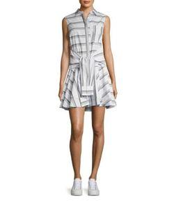 Derek Lam 10 Crosby   Tie-Waist Striped Shirtdress