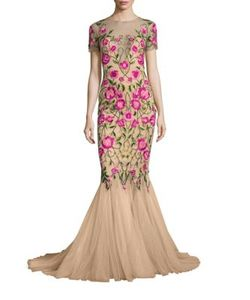 Marchesa Notte | Embroide Mermaid Gown