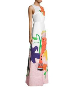 Alice + Olivia   Honey Printed A-Line Gown