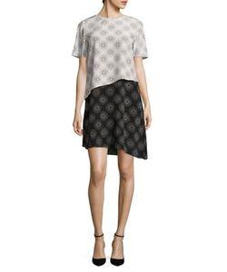 Diane von Furstenberg | Tiered Colorblock Silk Dress