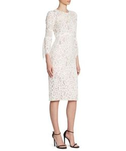 Lela Rose | Lace Flounce Sleeve Dress