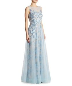 Teri Jon by Rickie Freeman | Embellished Appliqued Tulle Gown