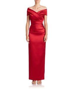 Talbot Runhof | Off-The-Shoulder Satin Gown