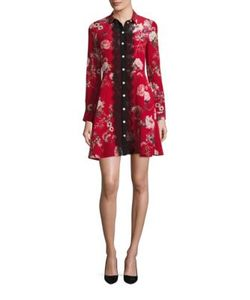 The Kooples | Moulin Rouge Printed Silk Shirt Dress