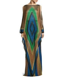 Balmain   Fishnet Inca-Print Gown