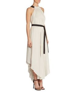 Halston Heritage | Sleeveless High Ruched Neck Gown