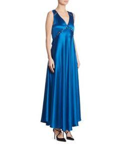 Prabal Gurung   Button-Detail Silk V-Neck Gown