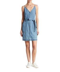 J Brand   Carmela Cotton Linen Chambray Dress