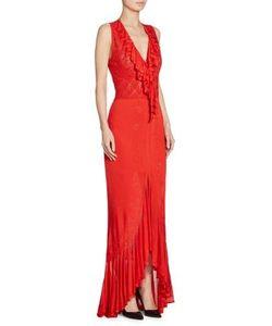 Roberto Cavalli   Ruffle V-Neck Gown