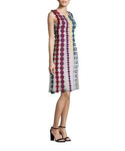 Mary Katrantzou   Nash Sleeveless Flower Embroide Silk Dress