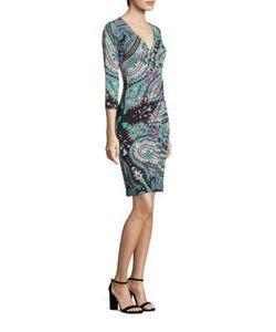 Etro | Paisley Jersey Faux-Wrap Dress