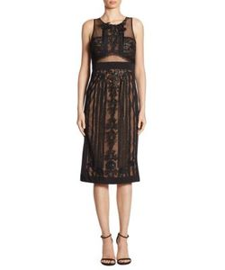 Marchesa Notte | Embroidered Mesh Lace Dress