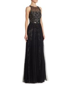 Marchesa Notte | Embroidered Tulle Gown