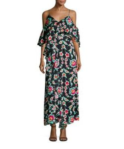 Tanya Taylor | Lorena Cold-Shoulder Silk Maxi Dress