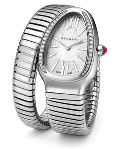 BVLGARI | Serpenti Diamond Stainless Steel Tubogas Bracelet Watch