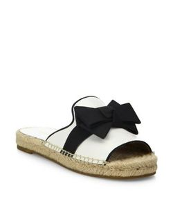 Michael Kors Collection | Hawn Bow Leather Espadrille Slides